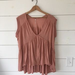 Free People Small v neck ruffle back tee
